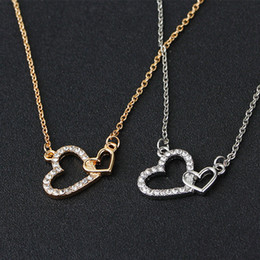 Double initial pendant necklace australia new featured double double heart necklace rhinestone interlocking heart love gold silver alloy pendant necklaces jewelry for girlfriend gift mozeypictures Images