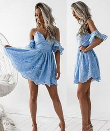 Discount ruffled semi dresses - 2018 Cheap Sexy Ocean Blue Lace Cocktail Dress V Neck Short Mini Semi Club Wear Homecoming Graduation Party Gown Plus Si