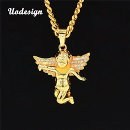 mens gold chain circle NZ - Hiphop Jewelry Gold Chain Necklace For Men Gold Angel Necklace Pendants Necklaces Charm Mens