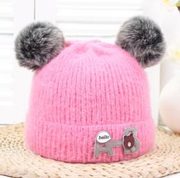 410067b599d Hat knitting bear online shopping - baby hat winter kids add wool cartoon  bear knitted cap