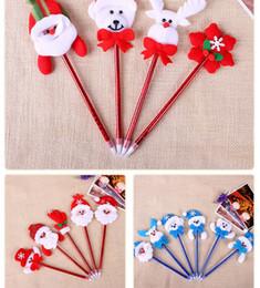 Discount santa pens - Cute Red Christmas PVC Ballpoint Pen Santa Claus Snowman Ball Pen Variously Craft Pen School Office Accessories Gift Chr