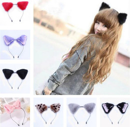 Discount long hair anime - 2017 Hair Accessories Girl Cute Cat Fox Ear Long Fur Hair Headband Anime Cosplay Party Costume