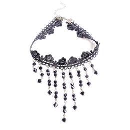 $enCountryForm.capitalKeyWord UK - Women Fashion Vintage Gothic Punk Crystal Choker Necklace Black Tassel Vampire Steampunk Jewellery
