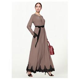 a707da684 ONGLYP Vestido Rojo Musulmán Tallas Grandes Mujeres Abaya Medio Oriente  Vestido Largo Robe Ramadán Dubai Ropa Árabe Islámica