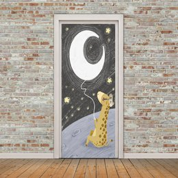 Cartoon Nature Australia - DIY Cartoon Giraffe Moon Night scene 3D Door Sticker Mural PVC Self-adhesive Waterproof Vinyl Decal Art Bedroom Living Room Home Decoration