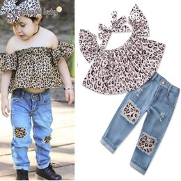 Leopard Kids T Shirts Australia - 2018 summer toddler girl clothes suit camouflage leopard printing t-shirts denim pants 2pcs suit childrens clothing kids boutique clothing