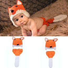 Baby Crochet Animal Set Australia - Crochet Fox Hat&Diaper Set Knitted Newborn Baby Photography Props Crochet Baby Animal Costume Newborn BABY Outfits