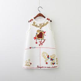 venda por atacado Retail Primavera-Verão menina vestido novo Cartas de amor coração Moda Vestido de Verão sem mangas Black White Roupa das Crianças E80703