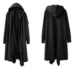 Discount casual cape cloak jacket - Mens Gothic Long Cloak Cape Coat Loose Casual Jacket Black PunK Trench Outwear Halloween Cosplay Dress Maxi Chinese Size