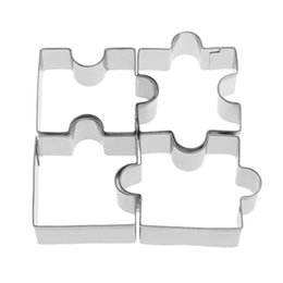 christmas fondant UK - 4pcs set Stainless Steel Puzzle Cookie Cutter DIY Biscuit Dessert Mold Pastry Fondant Cake Sugarcraft Decorating Frame Cutter Tool