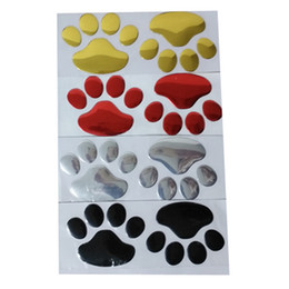 Footprints Stickers Canada - 100PR LOT Auto decals with Dog paw Bumper Stickers soft pvc Footprint silver Cool cheap car decals