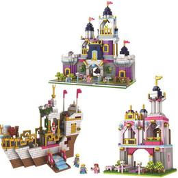 Discount plastic toy castle building blocks - 3 Models Diamond City Girl Friends bright color Romantic Castle Building Blocks Assembly Princess Dream House Bricks Toy