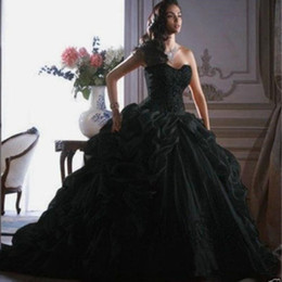 dress design chart NZ - 2019 Gothic Black Wedding Dresses New Design Custom Made Sweep Train Vintage Style Sweetheart Organza Ruffled Ball Gown Bridal Gowns W072