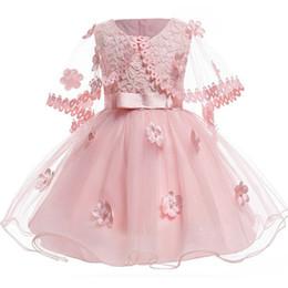 6945c422f Baby Girl Vintage Pink Flower Infant Dresses Princess Baby Bautizo Vestido  Chal Bautismo 1st Birthday Wedding Party Dresses