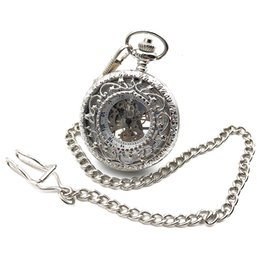 $enCountryForm.capitalKeyWord Canada - Antique Style Silver Tone Hollow Case Roman Number Dial Hand Wind Mens Mechanical Pocket Watch w Chain Reloj De Bolsillo Gift