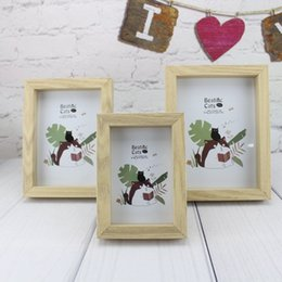 Table Cat Box Australia - Solid Wood Glass Photo Frame 6 Inch 7 Inch 8 Wooden Table Set Zakka Groceries Strange Thought Cat Decoration Picture Frame