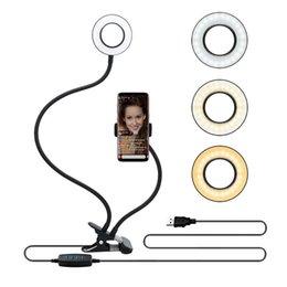 Selfie Halka Işık Canlı Akışı için Cep Telefonu Tutucu Standı ile Makyaj LED Kamera Işık Esnek Uzun Arms ile Android iPhone için 8 7 6 X