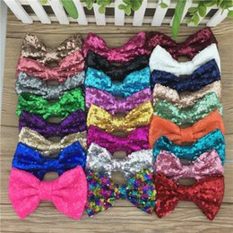 Hair Clip Design For Kids NZ - XIMA 25pcs lot 5''New Design Sequin Bows WITHOUT CLIP for DIY Accessories Big Sequin Hair Bows for Kids Hair Accessories