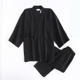 Men's Pajama Sets Men's Sleep & Lounge Men 100% Cotton Yukata Kimono Suit Men Japanese Traditional Pajamas Set Summer Japanese Style Bathrobe With Shorts 050401 Fast Color