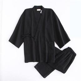 e4ed753622 Japanese Style Men Sleepwear Home Wear Casual Solid Kimono Pajamas Pyjamas  Suit 2018 Male Loose Cotton Sleep Set 2PCS Nightwear