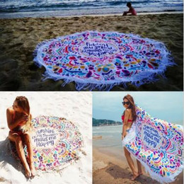 swimming mats 2019 - Round Sunshine on My Shoulder Mades Me Happy Beach Tassel Tapestry Towel Summer Swimming Sunbath Beach Towels Yoga Mat C