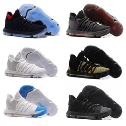 save off 3af75 be108 2018 new aaa mens zoom basketball shoes KDs 10 EP blue white grey rainbow  out sole mens casual sneakers size 40-46