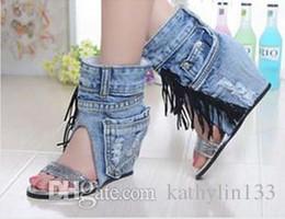 $enCountryForm.capitalKeyWord NZ - 2018 new fashion big size jeans cloth tassels women boots feminino autumn high heels boots chunky heels trendy boots free shipping