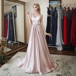 66c780916a2 Angel married simple Evening Dresses long pink prom gowns formal dress  women elegant party dress vestido de festa robe soiree C18111601