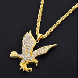 crystal eagle necklace jewelry NZ - Hot sale Mens Necklaces Gold Carstal Flying Eagle Pendant Choker Male HipHop Fashion Animal Jewelry Accessories