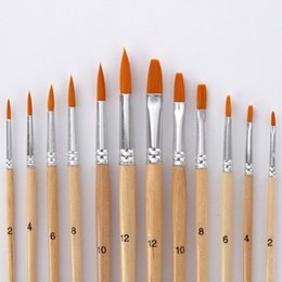 Brush Paintings Australia - Paint Brush Different Size Log color Nylon Hair Oil Painting Brushes Set for Watercolor Acrylic Drawing Art Supplie 12Pcs set