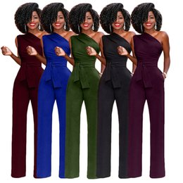 7e36b32f649 Jumpsuit For Women 2018 Fashion One Shoulder Rompers Women Jumpsuit Full  Length OL Overalls Pants D8092