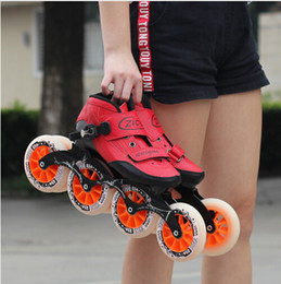 Großhandel Geschwindigkeit Inline Skates Kohlefaser 4 * 90/100 / 110mm Wettbewerb Skates 4 Räder Street Racing Skating Patines Ähnliche Powerslide