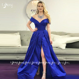 ChoColate fat online shopping - Royal Blue Off Shoulder Evening Dress Long Pleated Leg Split Prom Maxi Gowns Women Formal Party Dresses Custom Made Plus size for Fat Lady