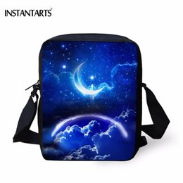 wholesale designer handbags Canada - INSTANTARTS Blue Sky Star Galaxy Moon Print Boys Girls Handbags Fashion Women Daily Crossbody Bags Brand Designer Messenger Bag