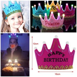 birthday princess party box NZ - Princess crown cap birthday happy party party decorations girl decorating birthday hat