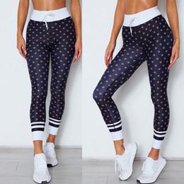 ladies drawstring yoga pants 2019 - 2018 Fashion Lightweight Breathable Ladies' Printed Sports Pants Yoga Pants Cool Polka Dot Skinny Slim Women's