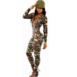 58afda9a7909 Wholesale- 2017 Spring Jumpsuit and Rompers Women`s Clothing Camouflage  Print macacao feminino e macaquinhos Sexy Bodysuit Zipper Bodysuit