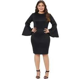 plus size dress code NZ - Free shipping fashion Women's clothes Circular collar Eight points pagoda sleeve High waist Zippers on the back Code size dress Dresses