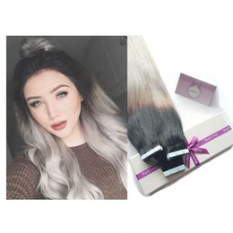 used human hair 2019 - 9A peruvian tape in hair extensions 1b grey human young women obmre color cosplay use discount used human hair