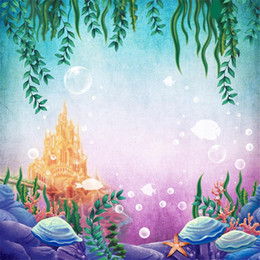 $enCountryForm.capitalKeyWord Canada - Gold Castle Under the Sea Backdrop Photography Green Leaves Fishes Bubbles Princess Little Mermaid Birthday Party Photo Booth Background