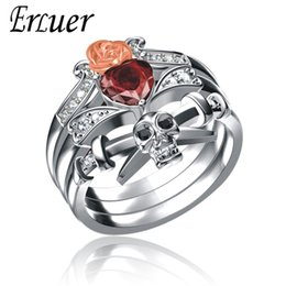 Cz Heart Cluster Ring Australia - Austrian Heart Shape Crystal CZ Gothic Punk Skull dagger Rose Rings For Women Sier Plated Jewelry Punk Fashion Gifts Ring Set