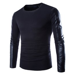 $enCountryForm.capitalKeyWord UK - Men Leather Sweatshirt Black Long Sleeve Pullover PU Patchwork Leather Slim Fitness Compression Shirt Men Pullover Masculino D18100703