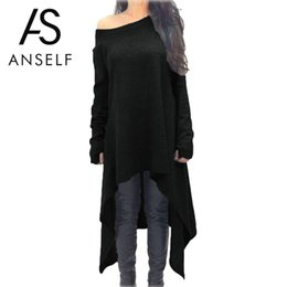 Chinese  Women Long Sleeve Midi Dress Plus Size 3XL 4XL 5XL Asymmetric Casual Streetwear One Shoulder Off Shoulder High Low Loose Jumper manufacturers