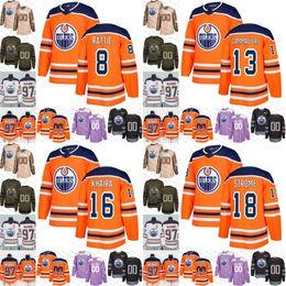 186f0bd18 2019 new blue Edmonton Oilers 8 Ty Rattie 13 Mike Cammalleri 16 Jujhar  Khaira 18 Ryan Strome mens womens youth Hockey Jerseys Stitched S-3XL