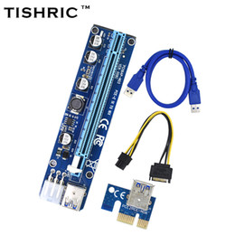 golds express 2019 - 10pcs TISHRIC VER008C 6Pin PCIE PCI-E Express Riser Card 1X to 16X Extension Cable 60cm USB 3.0 Cable For BTC Machine Mi