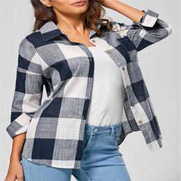 Discount plus size sleeveless blouses collar - Women's Check Plaid Casual loose Shirts Long Sleeve blusas Tops Blouse camisa xadrez feminina plus size women cloth
