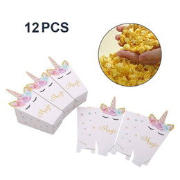 PoPcorn bags boxes online shopping - 12pcs unicorn Party Popcorn Boxes DIY Party Decor Unicorn Theme Popcorn Bags Birthday Party Decoration Favors Supplies FFA1053