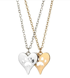 $enCountryForm.capitalKeyWord Australia - You Left Your Paw Prints on My Heart Rescue Dog Cat Silver-Tone Paw Print Heart Necklace Heart with Paw Cutout Pet Lover Jewelry