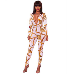 19fe53fc33b Wholesale Free Shipping Women Body Shaping Jumpsuit V Cut Custom Print Slim  Playsuit Long Sleeve Rompers