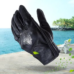 Full Finger Leather Motorcycle Gloves NZ - FLY5D Perforated Full Finger Unisex Motorcycle Gloves Cycling Climbing Ski Racing Genuine Leather Gloves Support Screen Touch